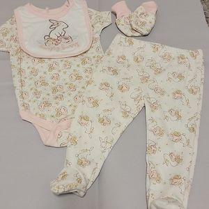 🐰NWOT Spring Easter floral bunny outfit set